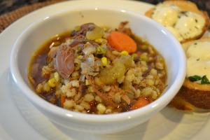 vail, rabbit, venison and barley soup, 9-13-13 098