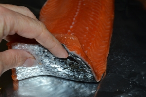 Place salmon, skin side down, on a foil-lined cookie sheet.